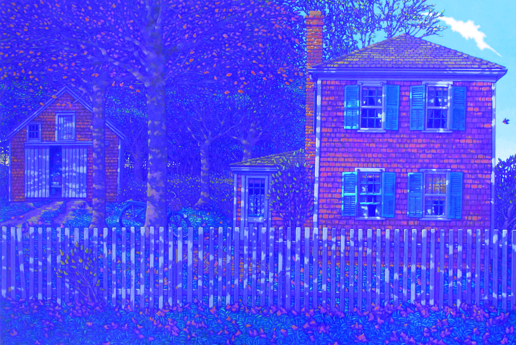 painting: Dappled light on shingled house with fence