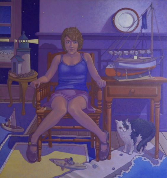 painting: Young woman seated by small tables with boat model and lighthouse. Boats and cat on the floor