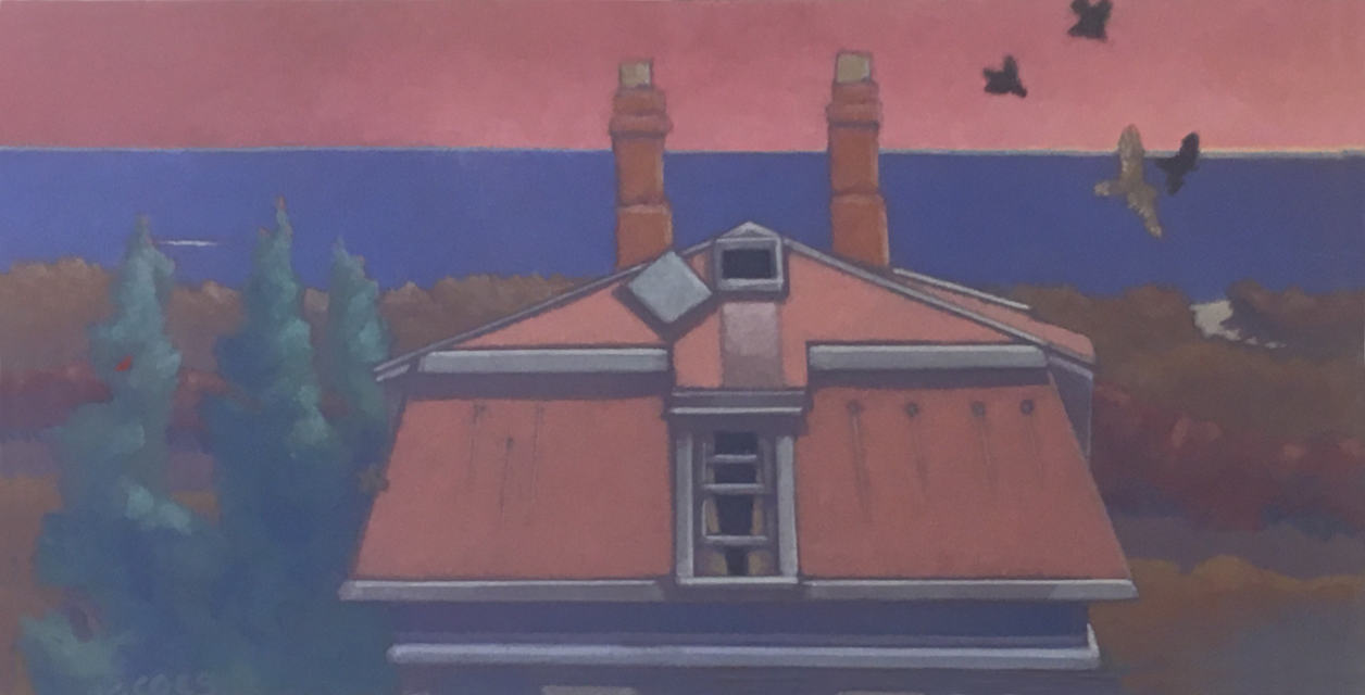 painting: House roof with sea and setting sun. Crows attacking hawk.