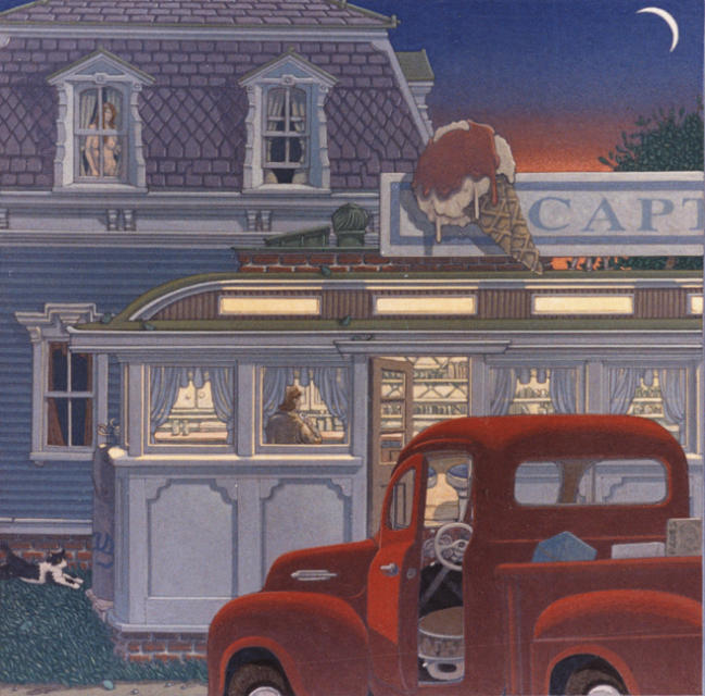painting: 1950's Red pickup truckin front of diner and house