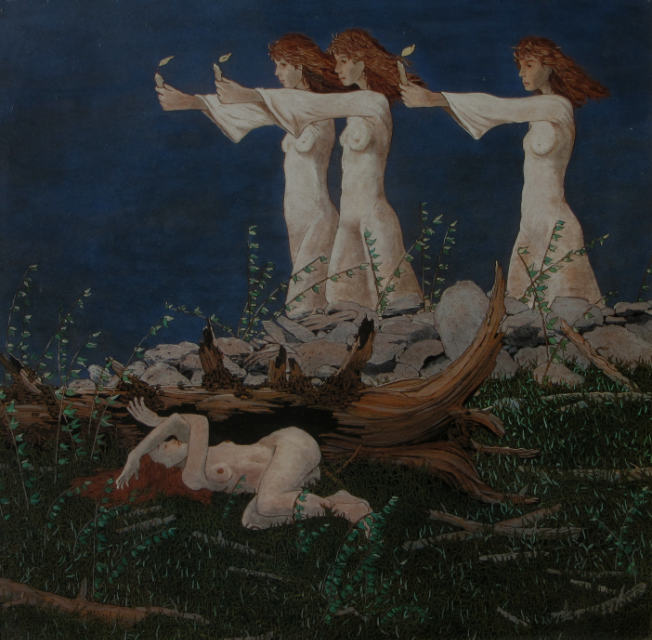painting: Four women, three in white gowns walking with candles, one nude behind a fallen tree