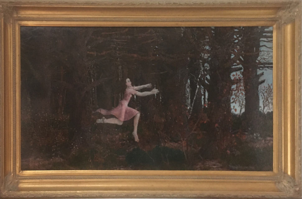 painting: frightened woman in pink dress running out of dark woods