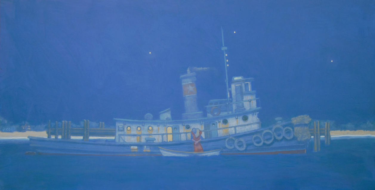 painting: couple kissing goodbye from rowboat to tugboat