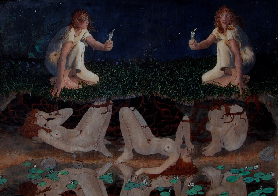 painting: five women, two clothed above-ground with candles, three reclining below-ground reflected in calm water