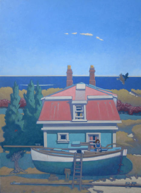 painting: Boat on stands with seated woman in front of mansard roof house by the sea