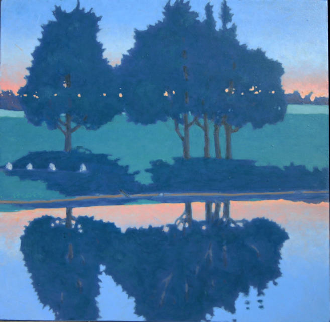 painting: Sunset small trees on grass field reflected in calm water