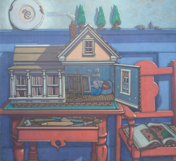 painting: House sculpture on small table opened to reveal nude sleeping woman in artist's studio