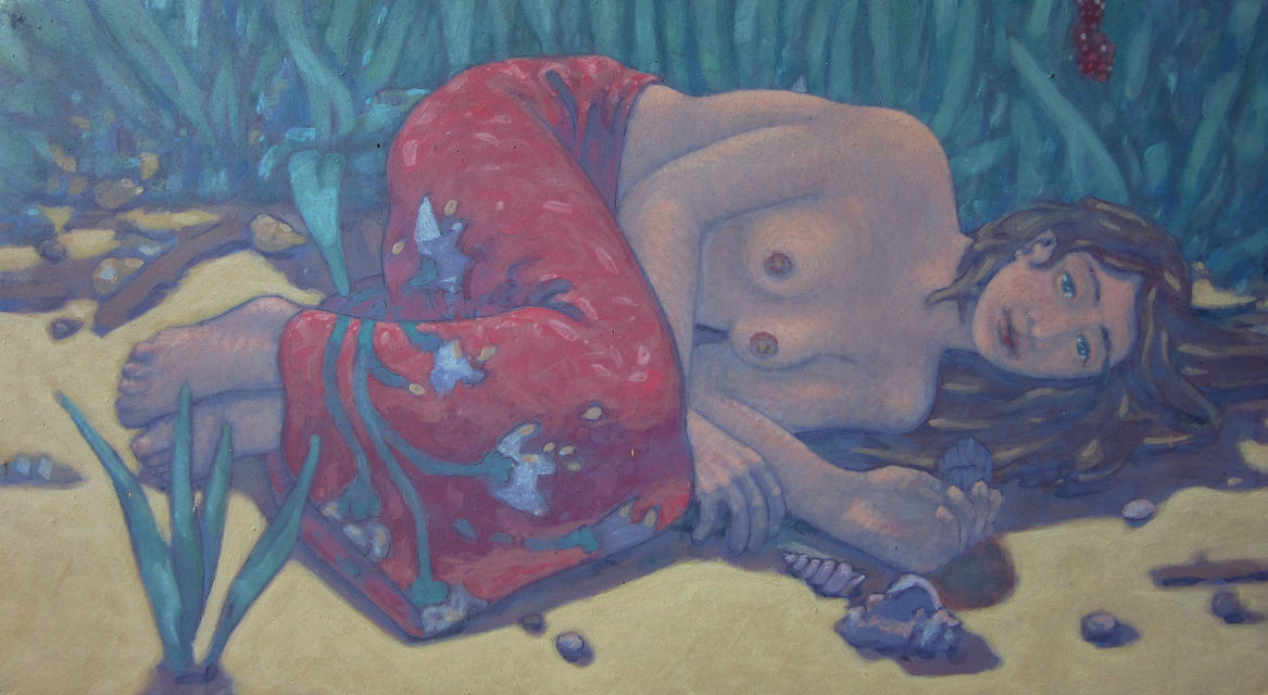 painting: Semi nude woman in skirt laying on a beech by reeds