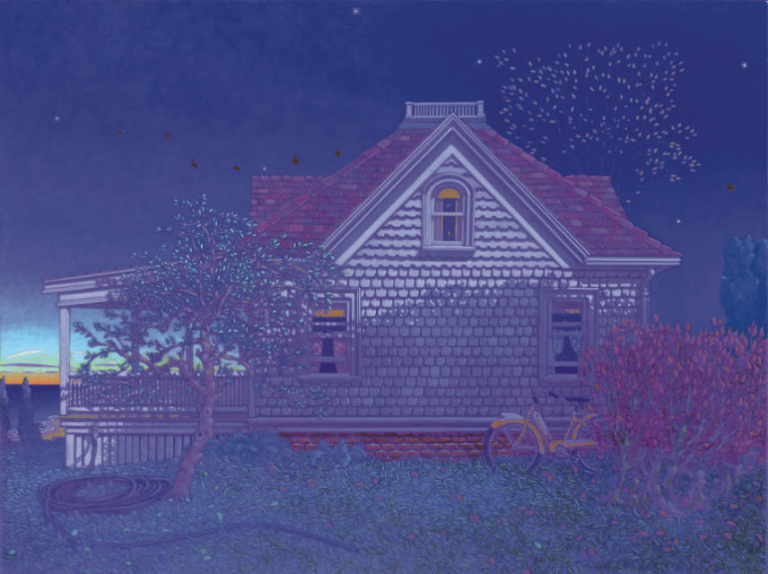 painting: Shingled house with porch at twilight by the sea
