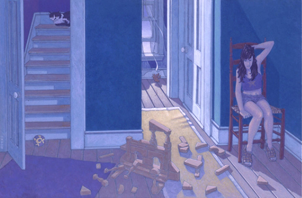 painting: hallway in old house, lit through open window. Childrens' blocks on floor, cat on stairs and young woman on a chair