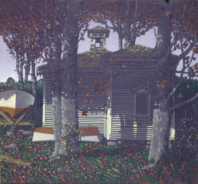 painting: small clapboard building amongst autumn trees. Two boats, one on stands with a woman in side and one on the ground