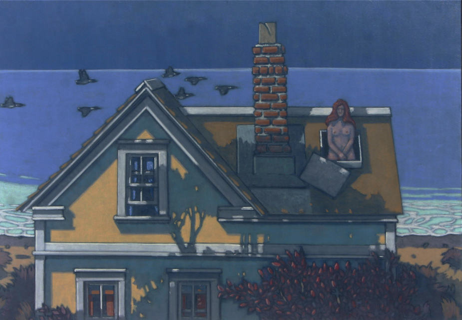 painting: Nude woman emerging from skylight in yellow house by the sea at twilight