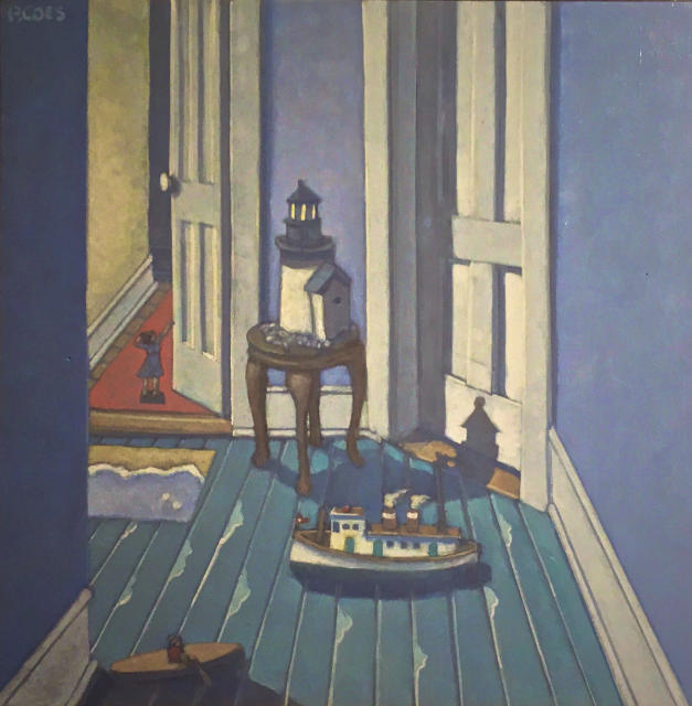 Painting: old house hallway with 2 doors, toy boats on the floor, lighthouse on a table and small woman figure beyond