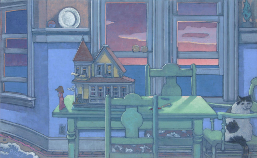 painting: Room with open windows with sea and setting sun beyond. Green table and chairs hold dollhouse, woman figure and a cat in a chair