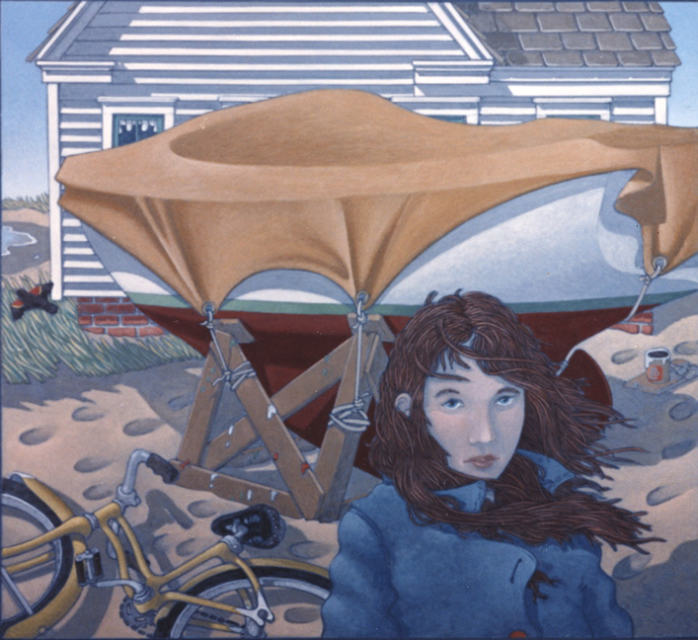 painting: Young woman in coat with bicycle in front of a covered boat on stands and house