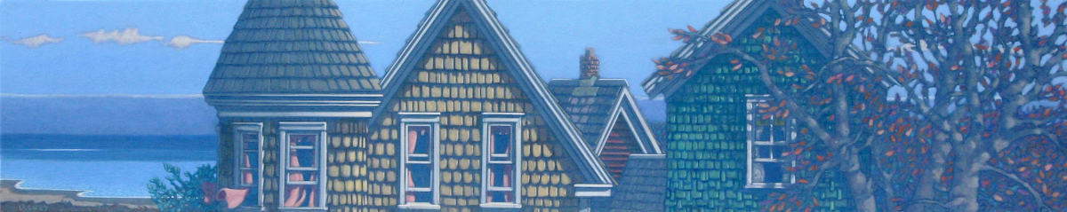 painting: shingled houses with autumn tree by the sea