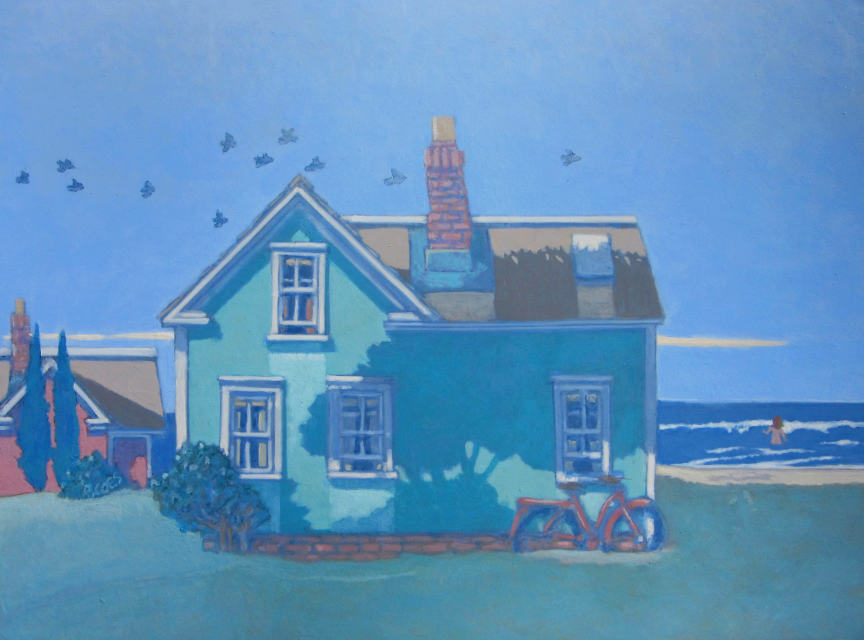painting: light green house and bicycle by the sea